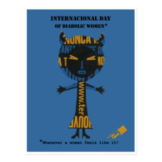Día internacional de mujeres diabólicas postal