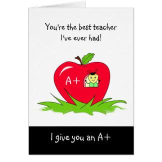 Día lindo Apple del aprecio del profesor para el p Tarjeta De Felicitación