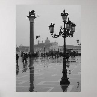 Día lluvioso en Venecia Póster