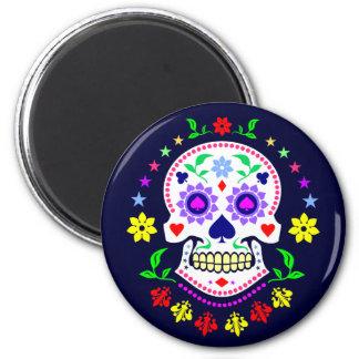 Día mexicano colorido del cráneo muerto del azúcar imán redondo 5 cm