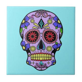 Día mexicano de la turquesa de cerámica del cráneo azulejo