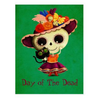 Día mexicano lindo del chica muerto postal