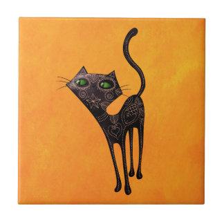 Día mexicano negro del gato muerto azulejo cuadrado pequeño