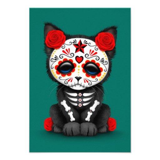 Día rojo lindo del gato muerto del gatito, azul de invitación