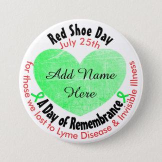 Día rojo personalizado del zapato, en botón