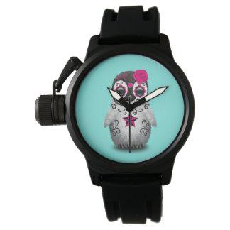 Día rosado del pingüino muerto del bebé reloj de pulsera