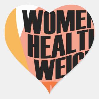 Día sano del peso de las mujeres - día del aprecio pegatina en forma de corazón