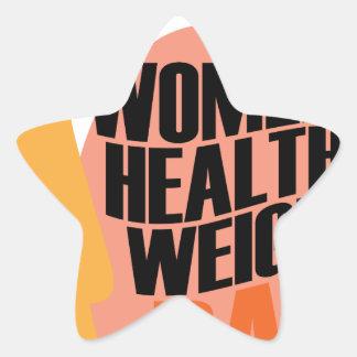 Día sano del peso de las mujeres - día del aprecio pegatina en forma de estrella