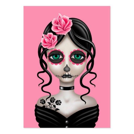 Día triste del chica muerto en rosa plantillas de tarjetas personales