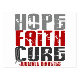 Diabetes juvenil de la curación de fe de la postal