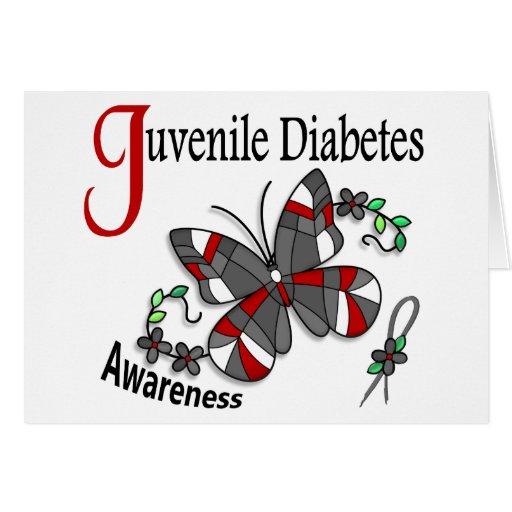 Diabetes juvenil de la mariposa 2 del vitral tarjetas