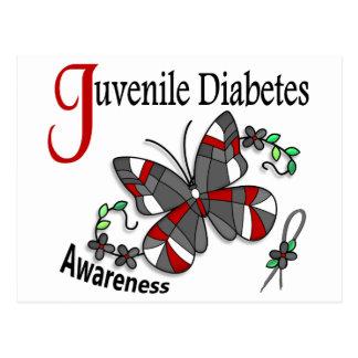 Diabetes juvenil de la mariposa 2 del vitral tarjeta postal