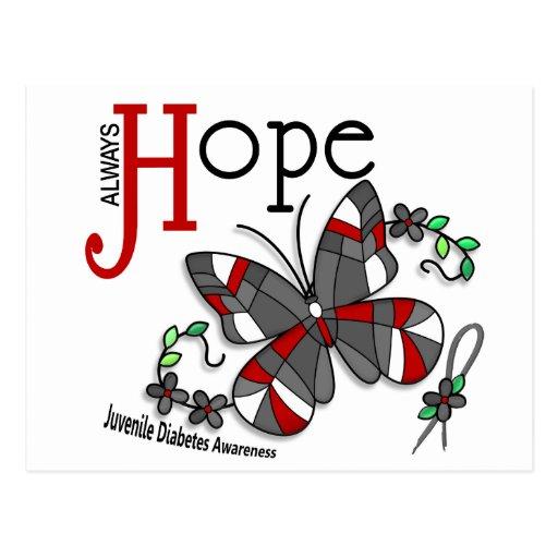 Diabetes juvenil de la mariposa del vitral postales