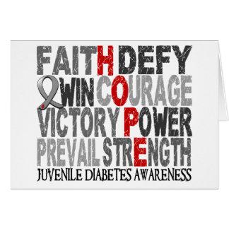 Diabetes juvenil del collage de la palabra de la e tarjetas