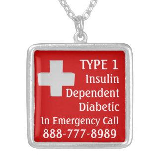 Diabético dependiente de la insulina colgante cuadrado