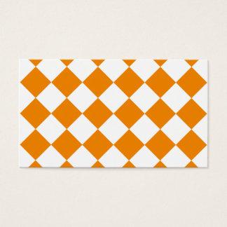 Diag a cuadros - blanco y mandarina tarjeta de negocios