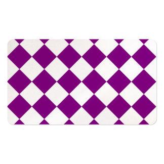 Diag a cuadros - blanco y púrpura tarjetas de visita