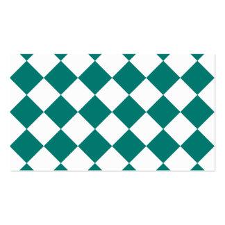 Diag a cuadros - blanco y verde del pino tarjetas de visita