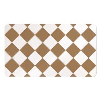 Diag a cuadros - Brown blanco y pálido Tarjetas De Visita