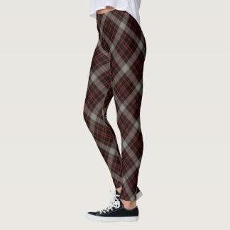 Diagonal grande gris roja negra de la tela leggings