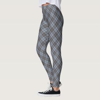 Diagonal media azul y gris de la tela escocesa de leggings