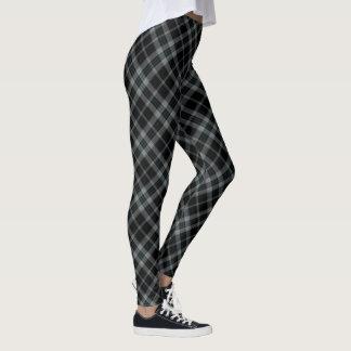 Diagonal media gris negra de la tela escocesa de leggings