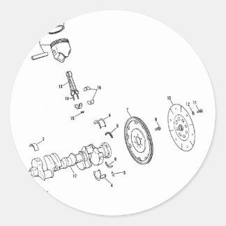 diagrama del pistón 454ci pegatina redonda