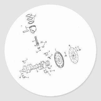diagrama del pistón 454ci pegatinas redondas