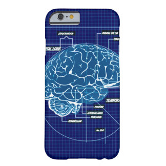 Diagrama esquemático azul del cerebro de Techno Funda De iPhone 6 Barely There