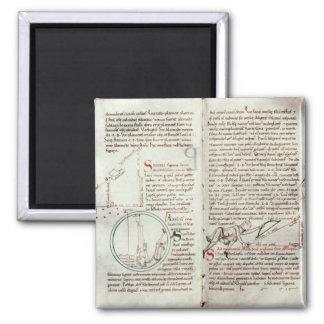 Diagramas de las medidas y del texto (vitela) iman de nevera