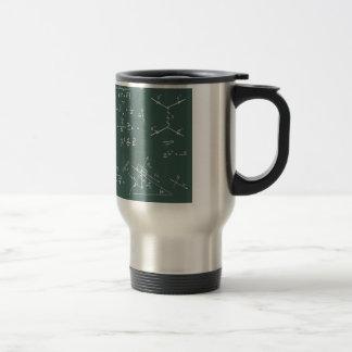 Diagramas y fórmulas de la física taza de café