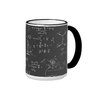Diagramas y fórmulas de la física taza a dos colores