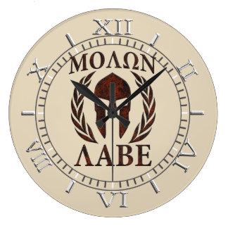 Dial de los laureles de la máscara del guerrero de reloj redondo grande