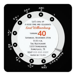 Dial rotatorio de la 40.a de cumpleaños invitación