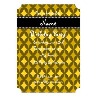 Diamante amarillo retro conocido personalizado del invitación 12,7 x 17,8 cm