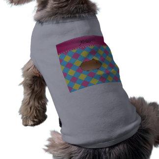 Diamante amarillo rosado azul personalizado del camiseta sin mangas para perro