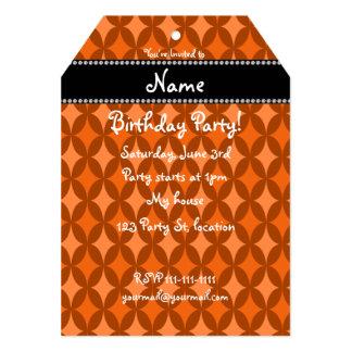 Diamante anaranjado retro conocido personalizado invitación 12,7 x 17,8 cm