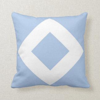 Diamante azul claro, frontera blanca intrépida cojín