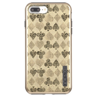 Diamante beige Antiqued envejecido del corazón del Funda DualPro Shine De Incipio Para iPhone 7 Plus