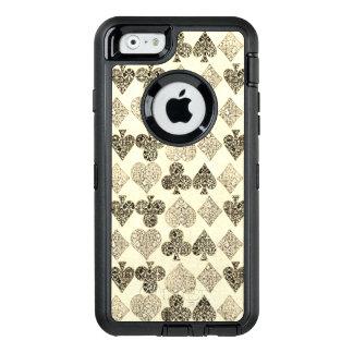 Diamante beige Antiqued envejecido del corazón del Funda OtterBox Defender Para iPhone 6