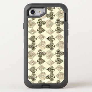 Diamante beige Antiqued envejecido del corazón del Funda OtterBox Defender Para iPhone 7