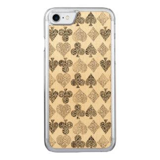 Diamante beige Antiqued envejecido del corazón del Funda Para iPhone 7 De Carved