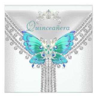 Diamante blanco azul 2 de la mariposa del trullo invitación 13,3 cm x 13,3cm