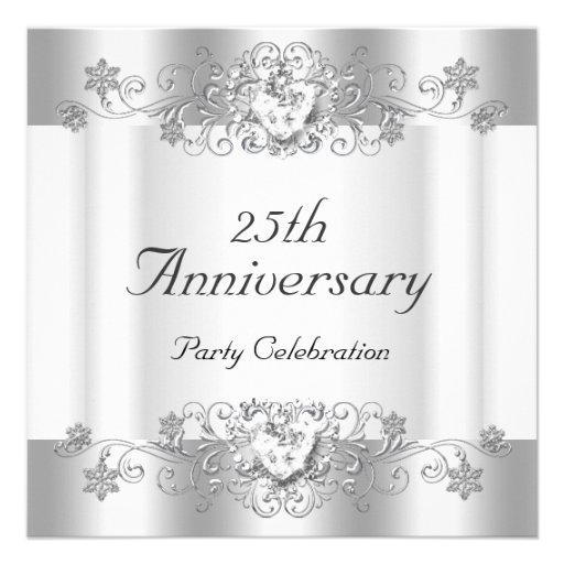 Diamante blanco de plata 4 del 25to aniversario el invitación