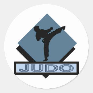 Diamante del azul del judo etiqueta redonda