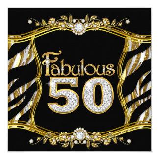 Diamante floral de 50 cebras del negro fabuloso invitación 13,3 cm x 13,3cm