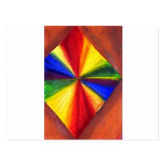 Diamante flotante del color del arco iris postal