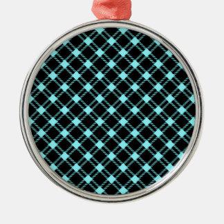 Diamante grande de tres bandas - azul eléctrico en adorno redondo plateado