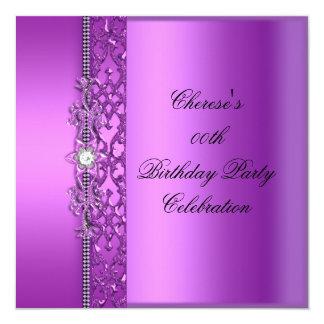Diamante magenta púrpura elegante de la fiesta de invitación 13,3 cm x 13,3cm