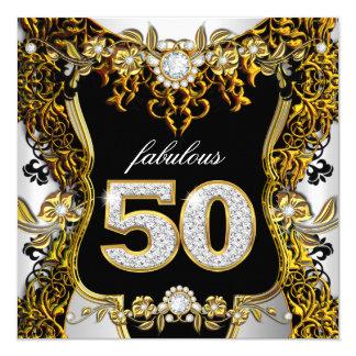 Diamante negro blanco del oro fabuloso de 50 invitación 13,3 cm x 13,3cm